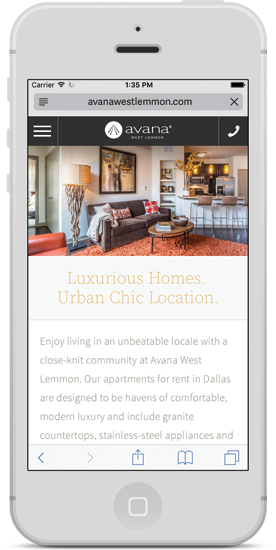 Avana Exclusive Theme on mobile devices